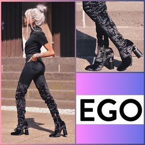 EGO 'Shireen' Black Crushed Velvet OTK Boots